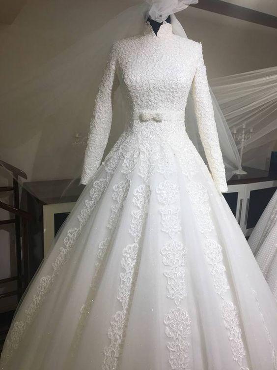 2202c835662aa فساتين زفاف محجبات 2018 فساتين فرح محجبات