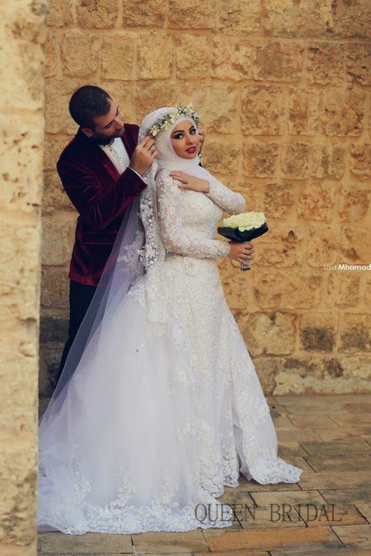 احدث فساتين زفاف محجبات 1